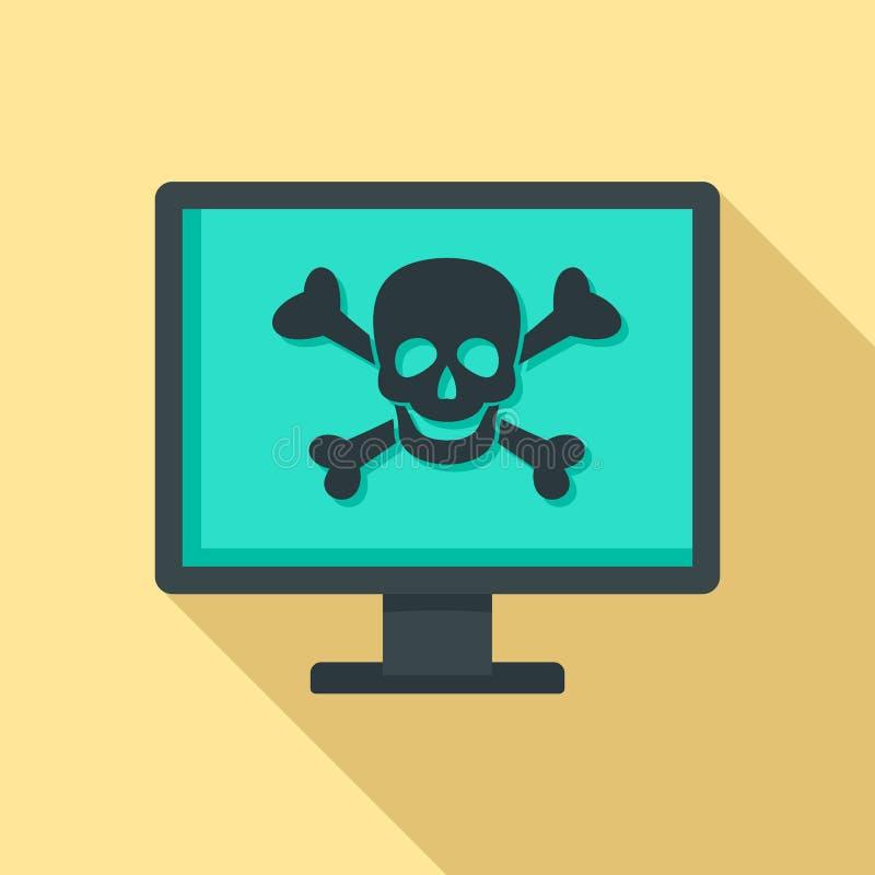 Εικονίδιο επίθεσης ιών υπολογιστών, επίπεδο ύφος απεικόνιση αποθεμάτων