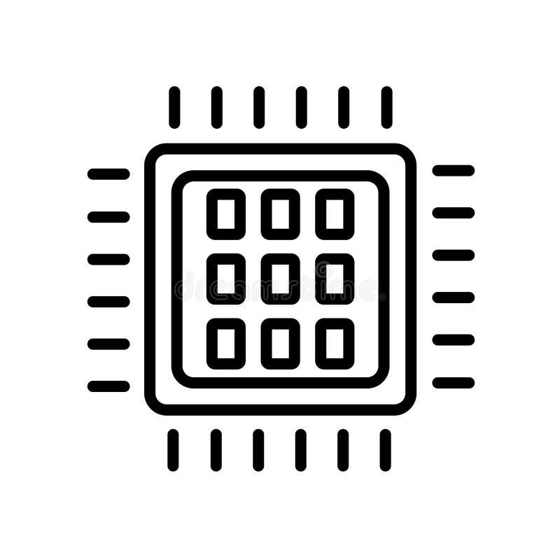 εικονίδιο επεξεργαστών τετράγωνο-πυρήνων που απομονώνεται στο άσπρο υπόβαθρο διανυσματική απεικόνιση