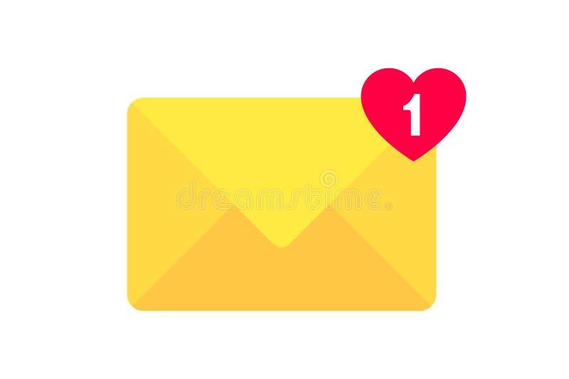 Εικονίδιο επιστολών φακέλων Φάκελος ταχυδρομείου με μια επιστολή καρδιών Σημάδι του λαμβανόμενου μηνύματος Ανακοίνωση ταχυδρομικώ ελεύθερη απεικόνιση δικαιώματος