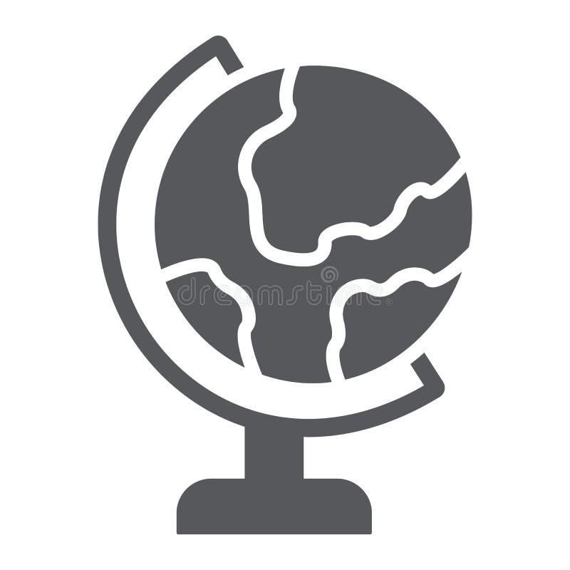 Εικονίδιο επιτραπέζιων σφαιρών glyph, εκπαίδευση και γεωγραφία, σημάδι παγκόσμιων χαρτών, διανυσματική γραφική παράσταση, ένα στε απεικόνιση αποθεμάτων