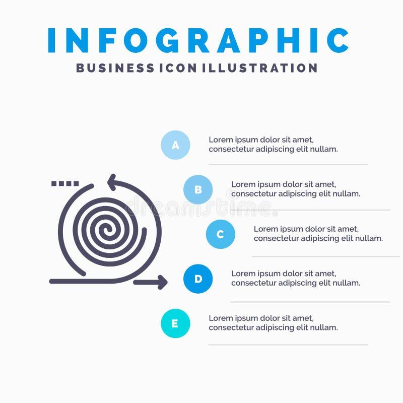 Εικονίδιο 'Επιχείρηση', 'Κύκλοι', 'Επανάληψη', 'Διαχείριση', 'Γραμμή προϊόντων' με 5 βήματα παρουσίασης infographics Φόντο ελεύθερη απεικόνιση δικαιώματος