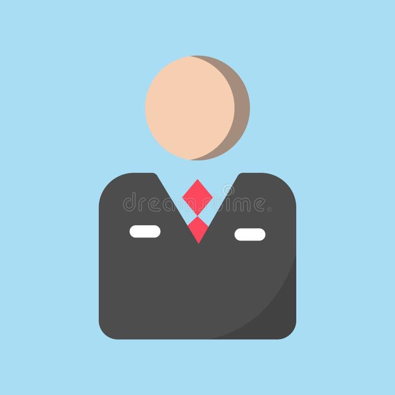 Εικονίδιο επιχειρήσεων και τραπεζικών εργασιών, εικονίδιο ανώτερων υπαλλήλων/εργαζομένων στο μαύρο κοστούμι με τον κόκκινο δεσμό απεικόνιση αποθεμάτων
