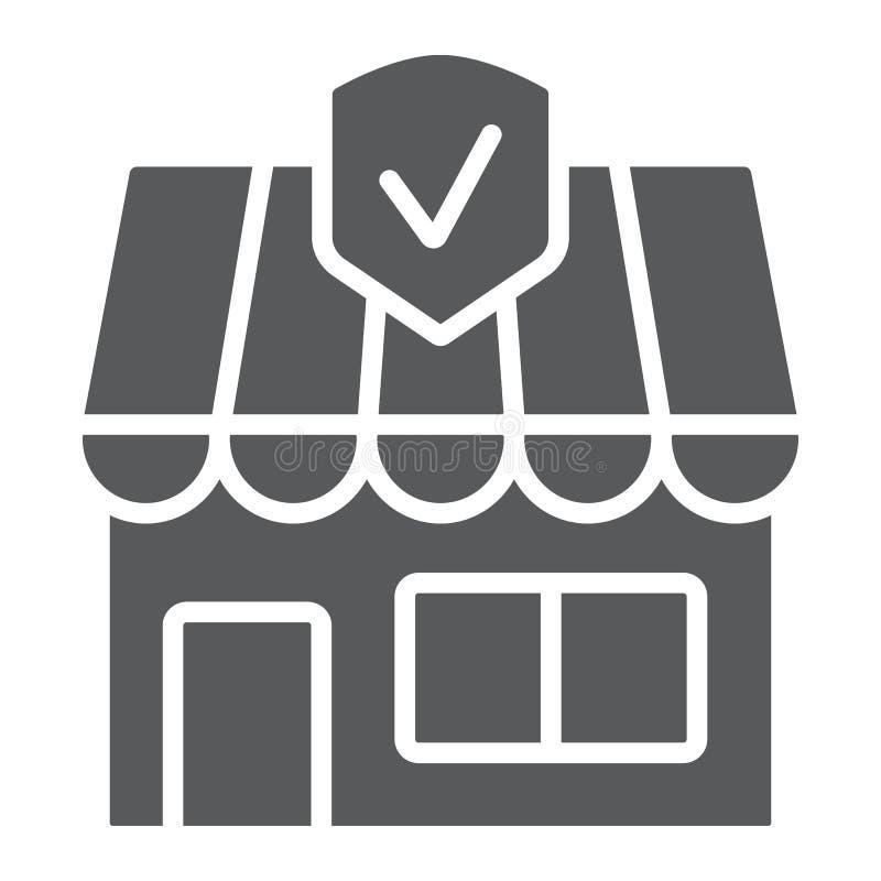 Εικονίδιο επιχειρησιακής ασφάλειας glyph, κτήμα και ασφάλεια, ασφαλιστικό σημάδι ιδιοκτησίας, διανυσματική γραφική παράσταση, ένα ελεύθερη απεικόνιση δικαιώματος