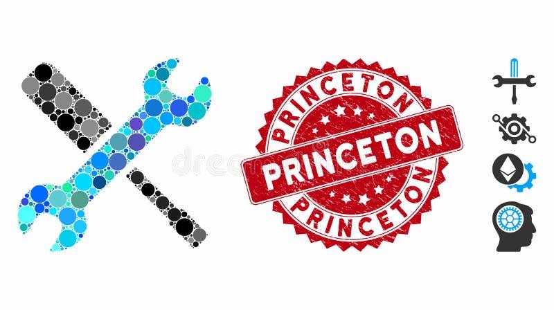 Εικονίδιο 'Εργαλεία μωσαϊκού' με γρατζουνισμένη σφραγίδα Princeton διανυσματική απεικόνιση