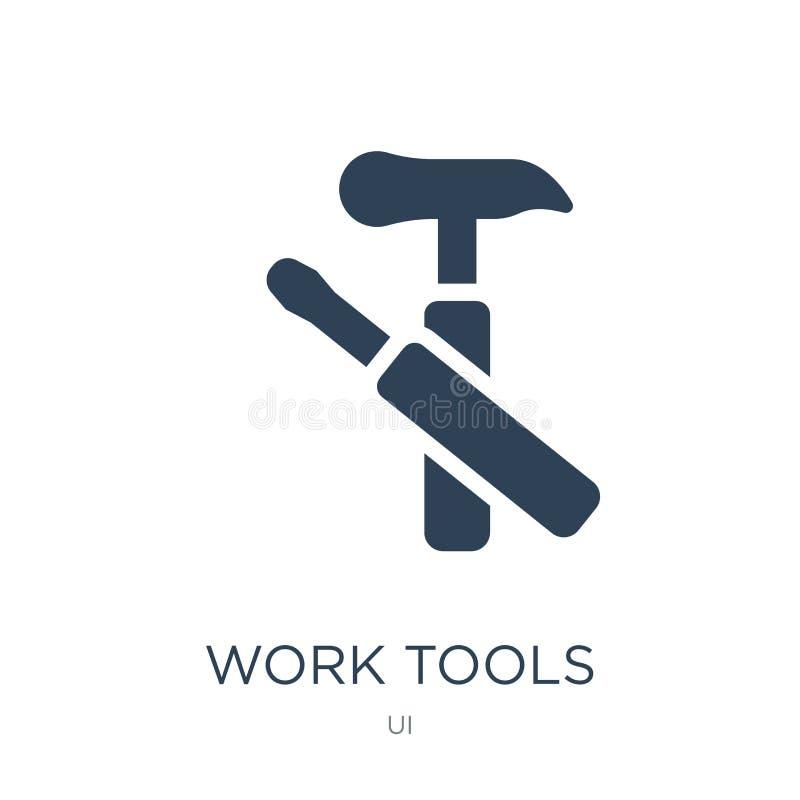 εικονίδιο εργαλείων εργασίας στο καθιερώνον τη μόδα ύφος σχεδίου Εικονίδιο εργαλείων εργασίας που απομονώνεται στο άσπρο υπόβαθρο ελεύθερη απεικόνιση δικαιώματος