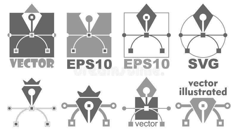 Εικονίδιο εργαλείων μανδρών Καμπύλη Bezier, γραφικό σύμβολο σχεδίου διανυσματική απεικόνιση
