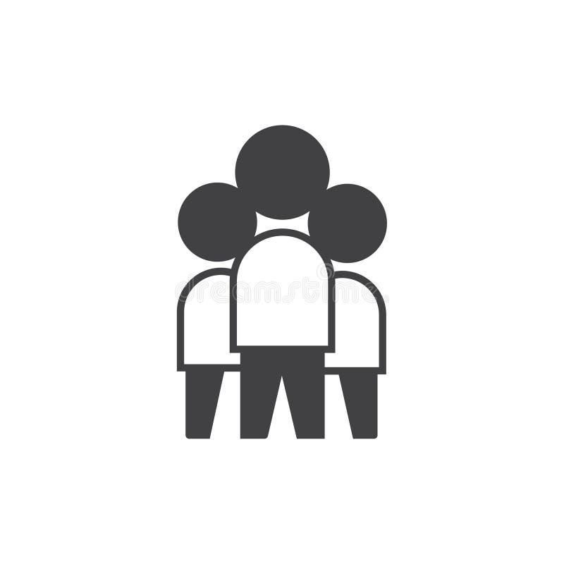 Εικονίδιο εργασίας ομάδας διανυσματικός πλήρης editable συμβόλων σημαδιών με τριών ατόμων διανυσματική απεικόνιση