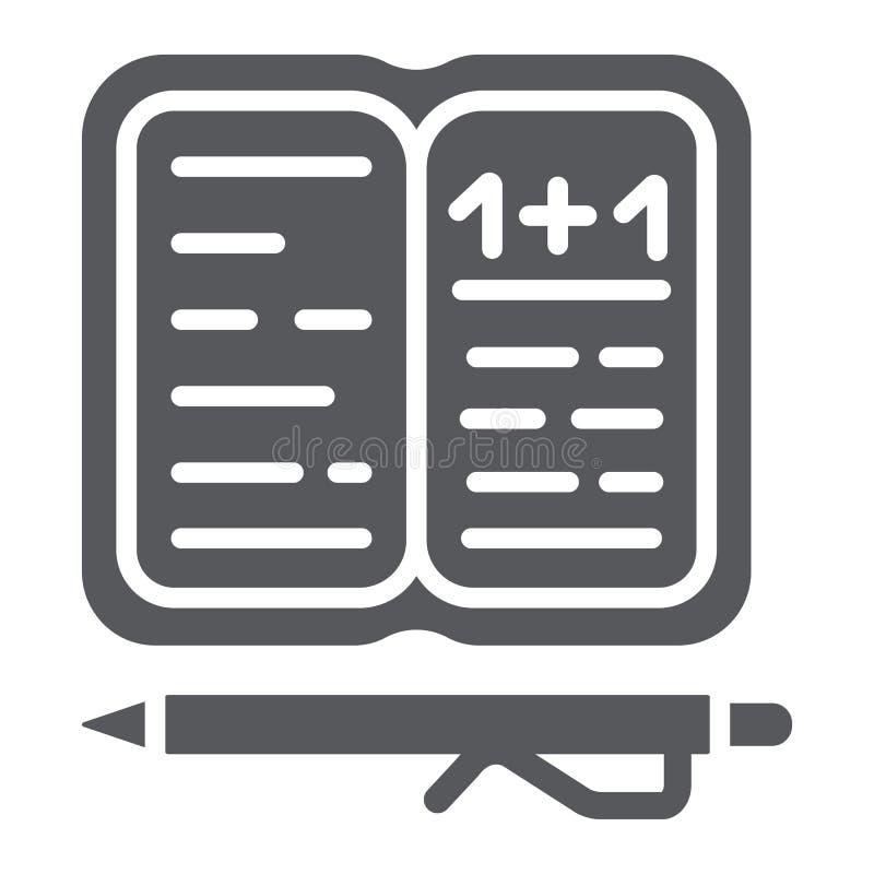 Εικονίδιο εργασίας glyph, έγγραφο και σχολείο, σημειωματάριο με το σημάδι μανδρών, διανυσματική γραφική παράσταση, ένα στερεό σχέ διανυσματική απεικόνιση