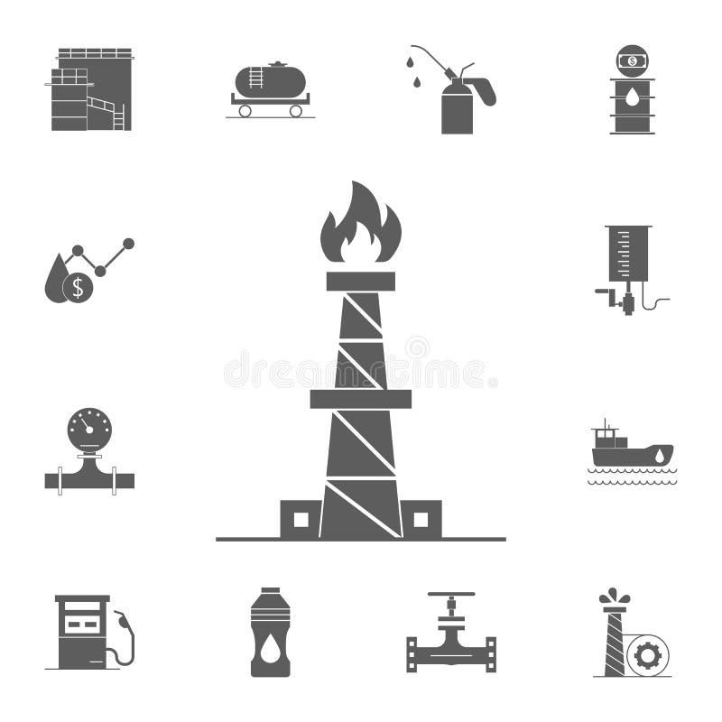 εικονίδιο εργοστασίων επεξεργασίας φυσικού αερίου Λεπτομερές σύνολο εικονιδίων πετρελαίου Γραφικό σημάδι σχεδίου εξαιρετικής ποιό διανυσματική απεικόνιση