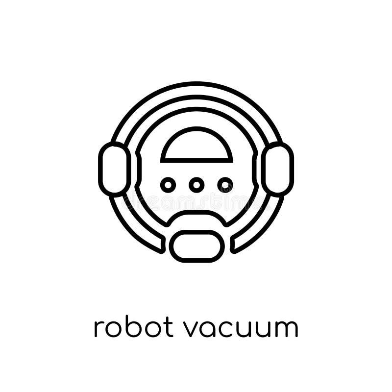 Εικονίδιο ηλεκτρικών σκουπών ρομπότ Καθιερώνον τη μόδα σύγχρονο επίπεδο γραμμικό διανυσματικό Robo διανυσματική απεικόνιση