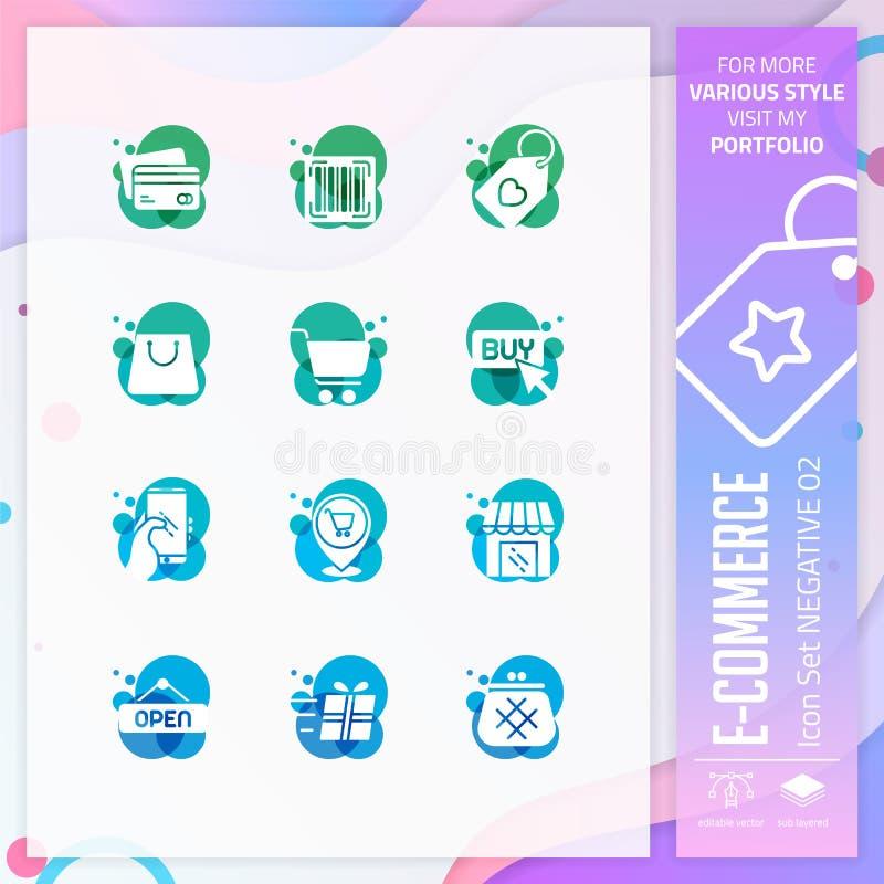 Εικονίδιο ηλεκτρονικού εμπορίου που τίθεται στο αρνητικό ύφος για το σύμβολο αγορών Η σε απευθείας σύνδεση δέσμη εικονιδίων αγορά ελεύθερη απεικόνιση δικαιώματος