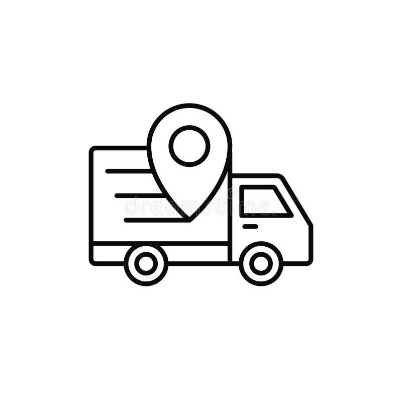 Εικονίδιο θέσης καρφιτσών φορτηγών παράδοσης ακολουθώντας απεικόνιση θέσης αποστολών απλό σχέδιο συμβόλων περιλήψεων διανυσματικό απεικόνιση αποθεμάτων