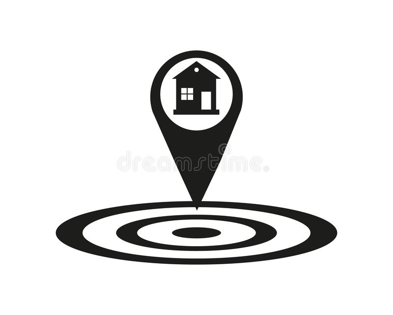 Εικονίδιο θέσης σπιτιών Σύμβολο σκιαγραφιών δεικτών χαρτών σκιών πτώσης Ακίνητη περιουσία ακριβής Σπίτι εδώ κοντά Διάνυσμα που απ ελεύθερη απεικόνιση δικαιώματος