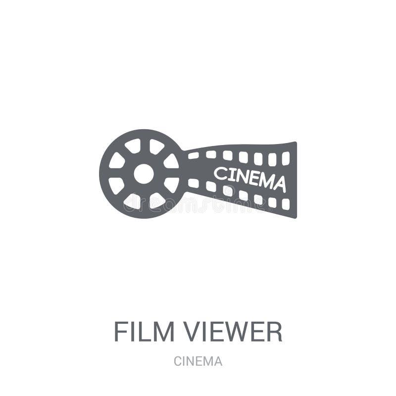 Εικονίδιο θεατών ταινιών Καθιερώνουσα τη μόδα έννοια λογότυπων θεατών ταινιών στο άσπρο backg απεικόνιση αποθεμάτων
