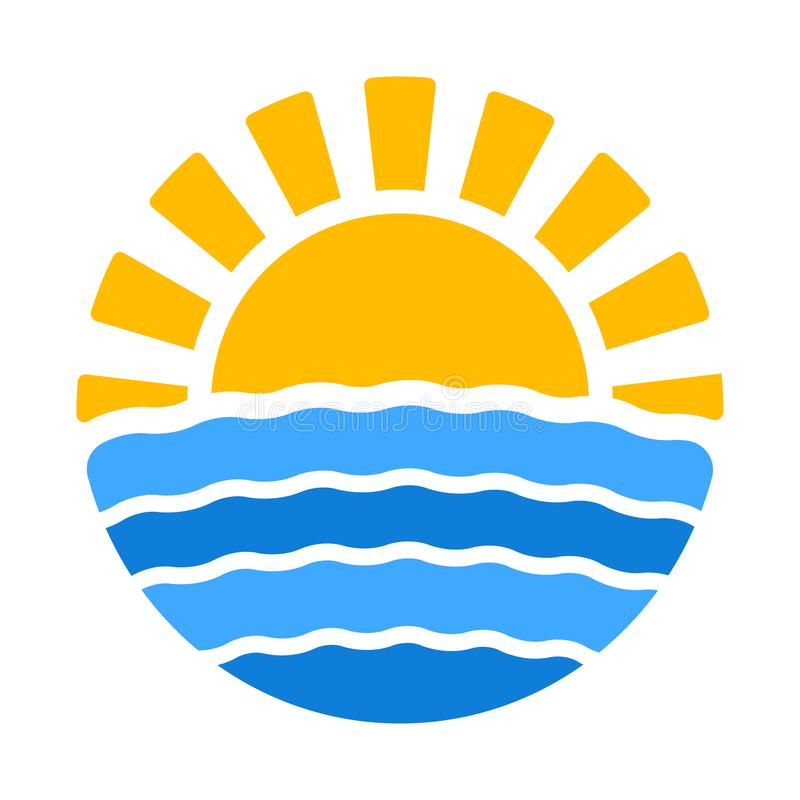 Εικονίδιο θερινού χρόνου με τον ήλιο και τη θάλασσα ελεύθερη απεικόνιση δικαιώματος