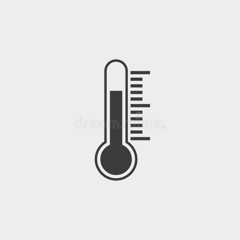 Εικονίδιο θερμοκρασίας σε ένα επίπεδο σχέδιο επίσης corel σύρετε το διάνυσμα απεικόνισης ελεύθερη απεικόνιση δικαιώματος