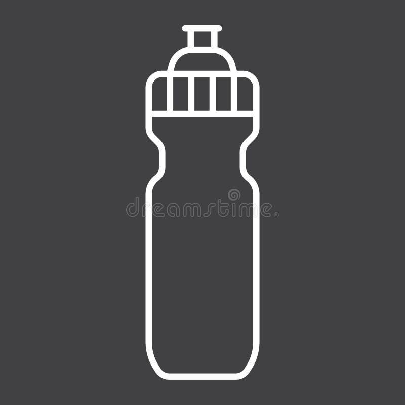Εικονίδιο, ικανότητα και αθλητισμός γραμμών αθλητικών μπουκαλιών νερό διανυσματική απεικόνιση