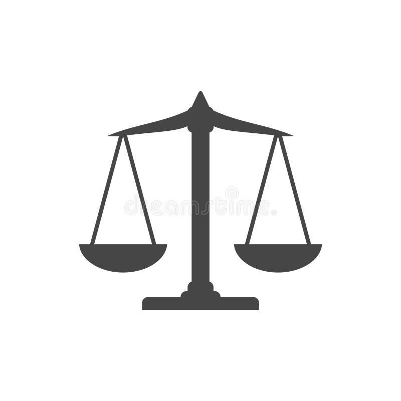 Εικονίδιο ισορροπίας κλιμάκων, εικονίδιο κλίμακας δικαιοσύνης απεικόνιση αποθεμάτων