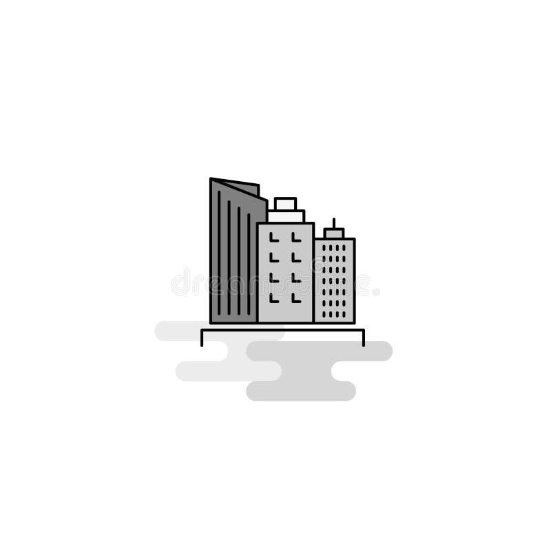 Εικονίδιο Ιστού κτηρίων Η επίπεδη γραμμή γέμισε το γκρίζο διάνυσμα εικονιδίων απεικόνιση αποθεμάτων