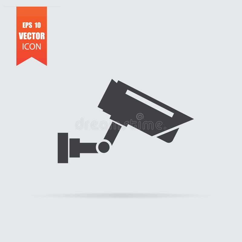 Εικονίδιο κάμερων παρακολούθησης στο επίπεδο ύφος που απομονώνεται στο γκρίζο υπόβαθρο ελεύθερη απεικόνιση δικαιώματος