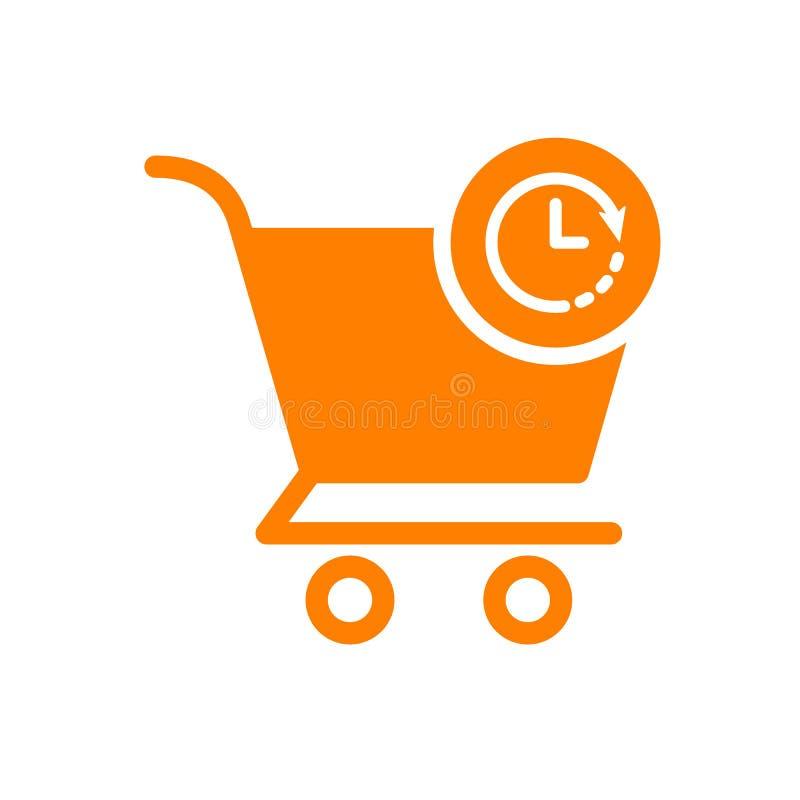 Εικονίδιο κάρρων αγορών, εικονίδιο εμπορίου με το σημάδι ρολογιών Εικονίδιο κάρρων αγορών και αντίστροφη μέτρηση, προθεσμία, πρόγ απεικόνιση αποθεμάτων