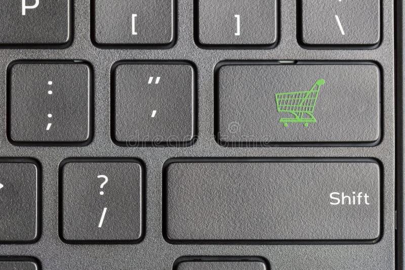 Εικονίδιο κάρρων αγορών στο πληκτρολόγιο υπολογιστών στοκ φωτογραφίες με δικαίωμα ελεύθερης χρήσης