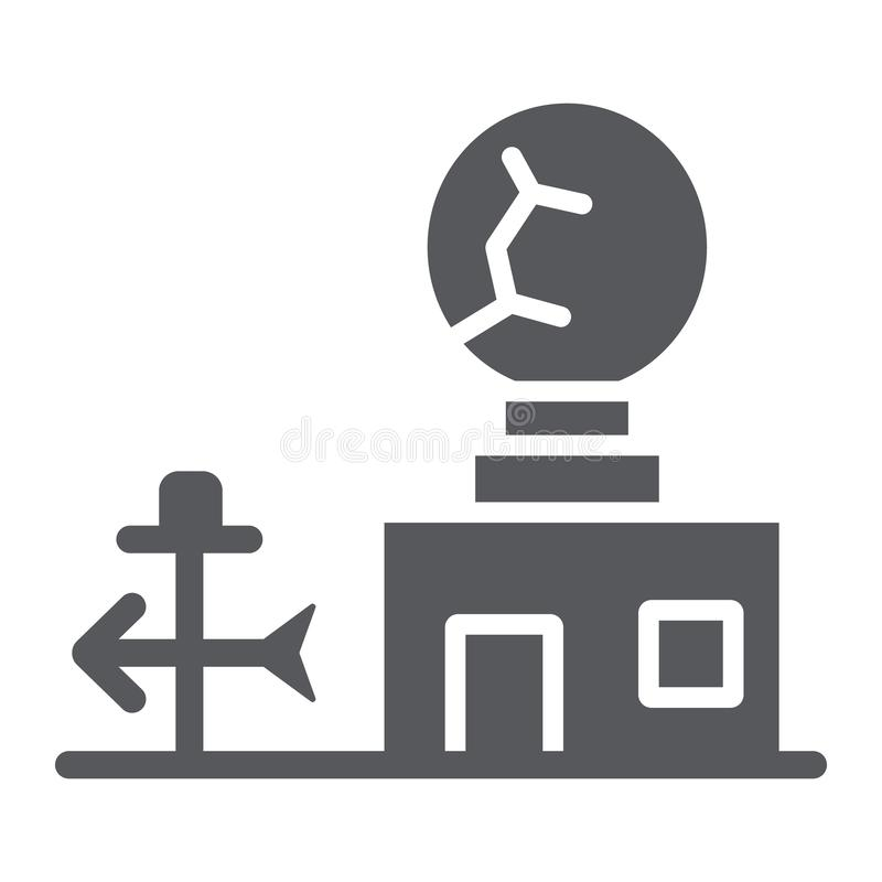 Εικονίδιο καιρικών σταθμών glyph, ανεμόμετρο και πρόβλεψη, meteorogical σημάδι σταθμών, διανυσματική γραφική παράσταση, ένα στερε ελεύθερη απεικόνιση δικαιώματος