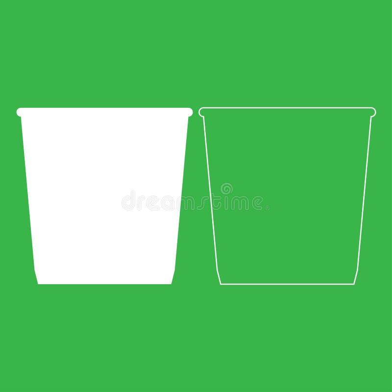 Εικονίδιο καλαθιών σκουπιδοτενεκών ή απορριμμάτων Άσπρο χρώμα απεικόνισης ελεύθερη απεικόνιση δικαιώματος