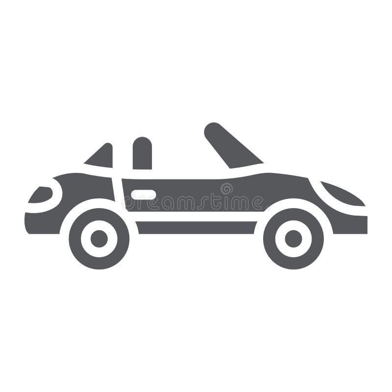 Εικονίδιο καμπριολέ glyph, μεταφορά και κίνηση, αυτοκινητικό σημάδι, διανυσματική γραφική παράσταση, ένα στερεό σχέδιο σε ένα άσπ απεικόνιση αποθεμάτων