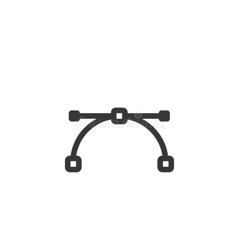 Εικονίδιο καμπυλών Bezier Διανυσματική ελάχιστη απεικόνιση με τα thicknes ένα διανυσματική απεικόνιση