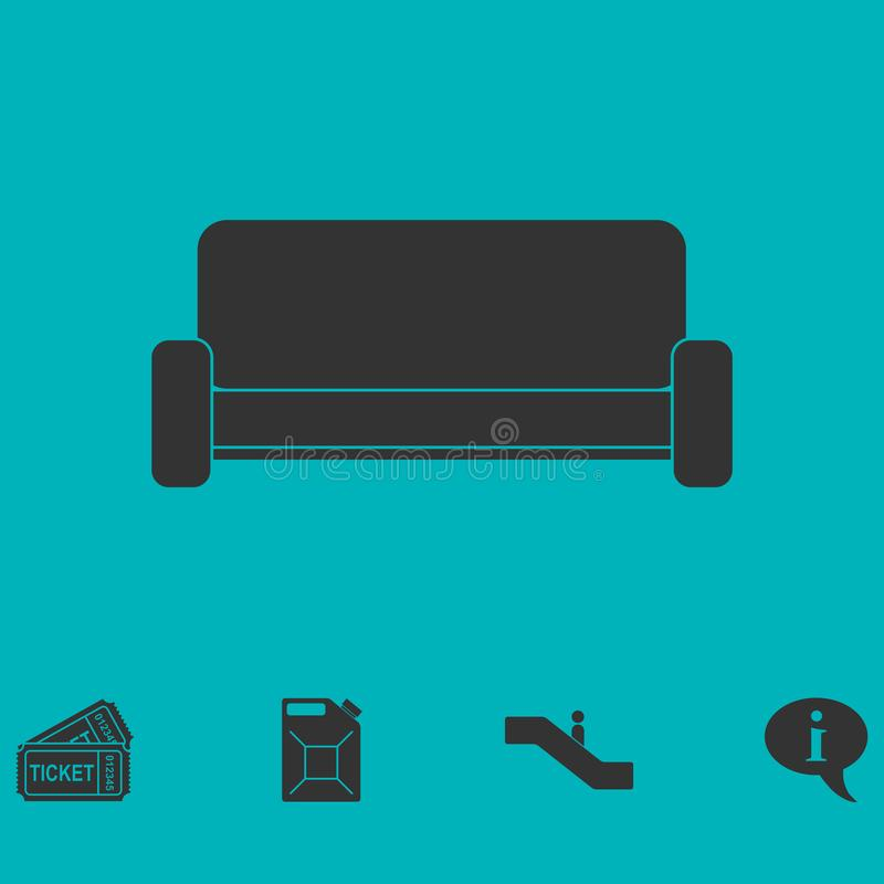 Εικονίδιο καναπέδων επίπεδο ελεύθερη απεικόνιση δικαιώματος