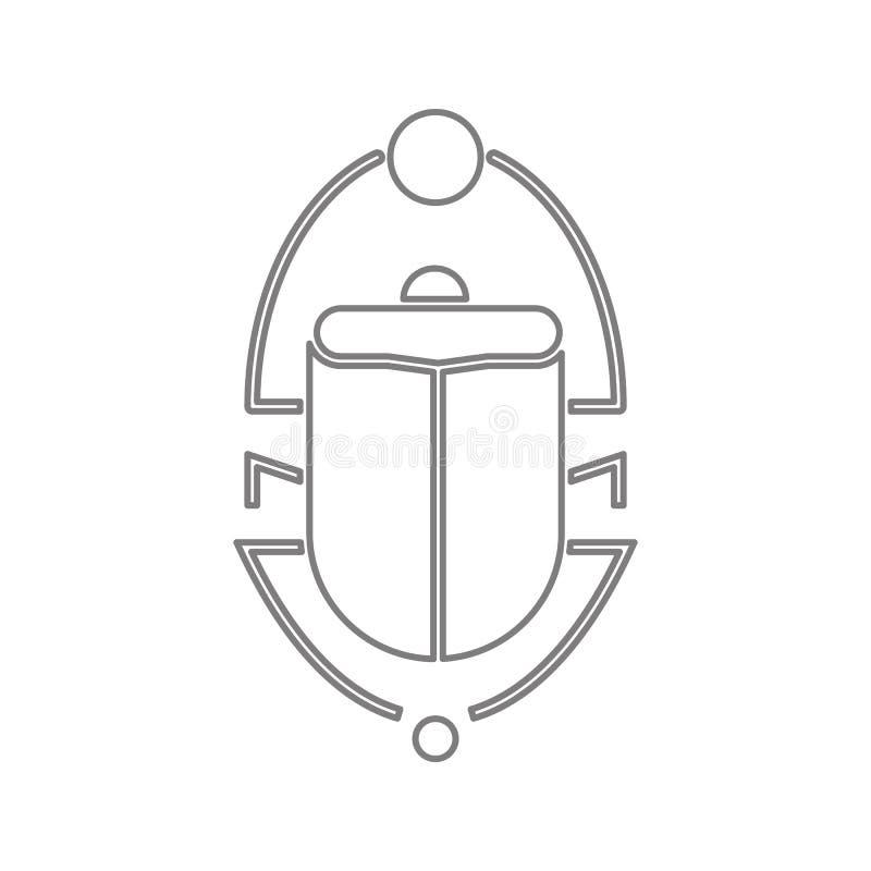 Εικονίδιο κανθάρων Scarab Στοιχείο της ασφάλειας cyber του κινητού εικονιδίου έννοιας και Ιστού apps Λεπτό εικονίδιο γραμμών για  απεικόνιση αποθεμάτων