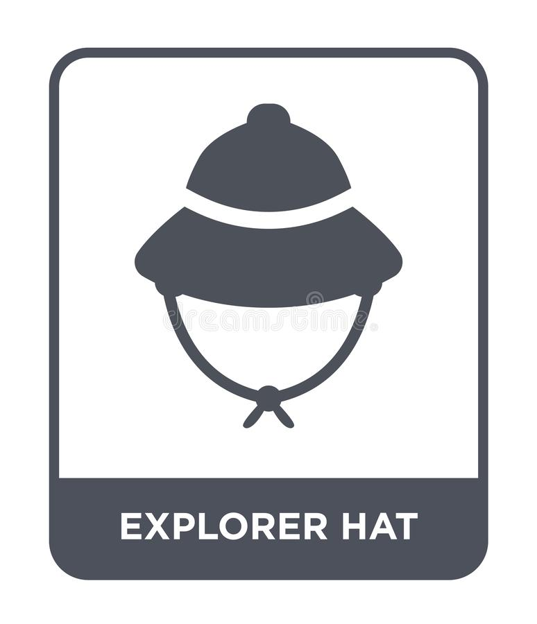 εικονίδιο καπέλων εξερευνητών στο καθιερώνον τη μόδα ύφος σχεδίου εικονίδιο καπέλων εξερευνητών που απομονώνεται στο άσπρο υπόβαθ απεικόνιση αποθεμάτων
