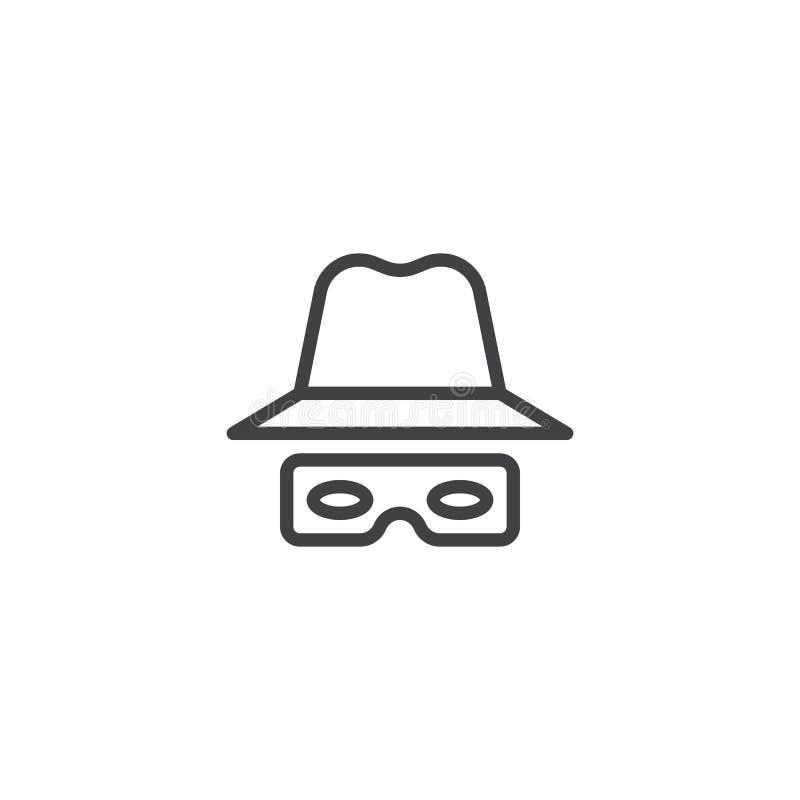 Εικονίδιο καπέλων και γραμμών γυαλιών απεικόνιση αποθεμάτων