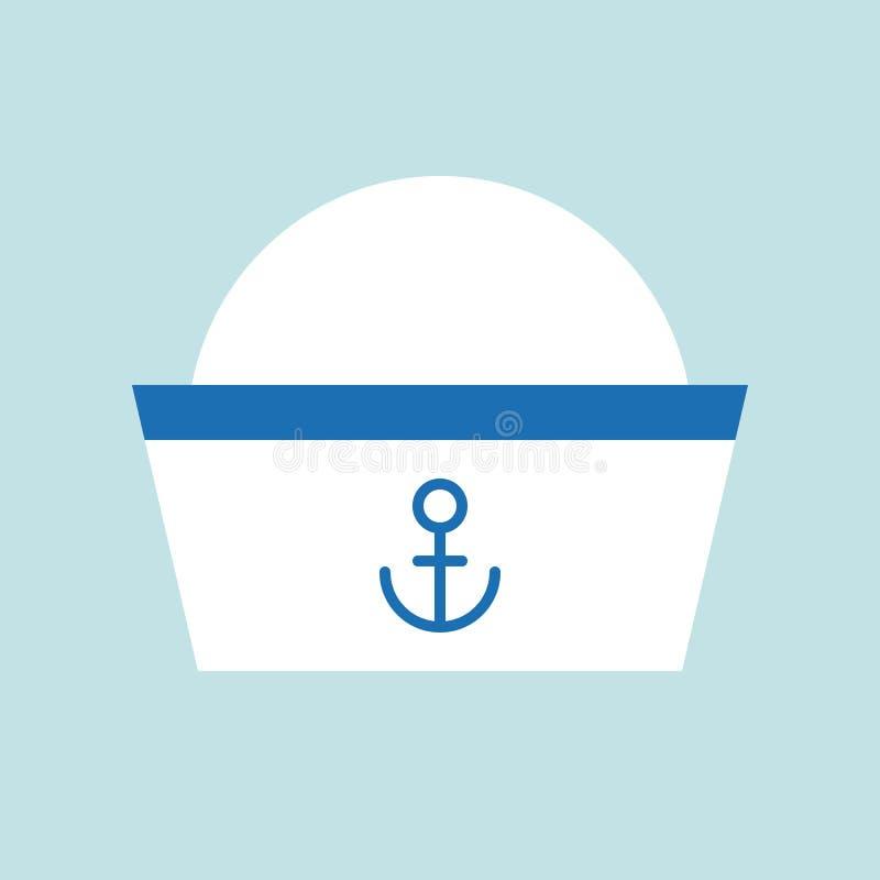 Εικονίδιο καπέλων ναυτικών, επίπεδη διανυσματική απεικόνιση σχεδίου ελεύθερη απεικόνιση δικαιώματος