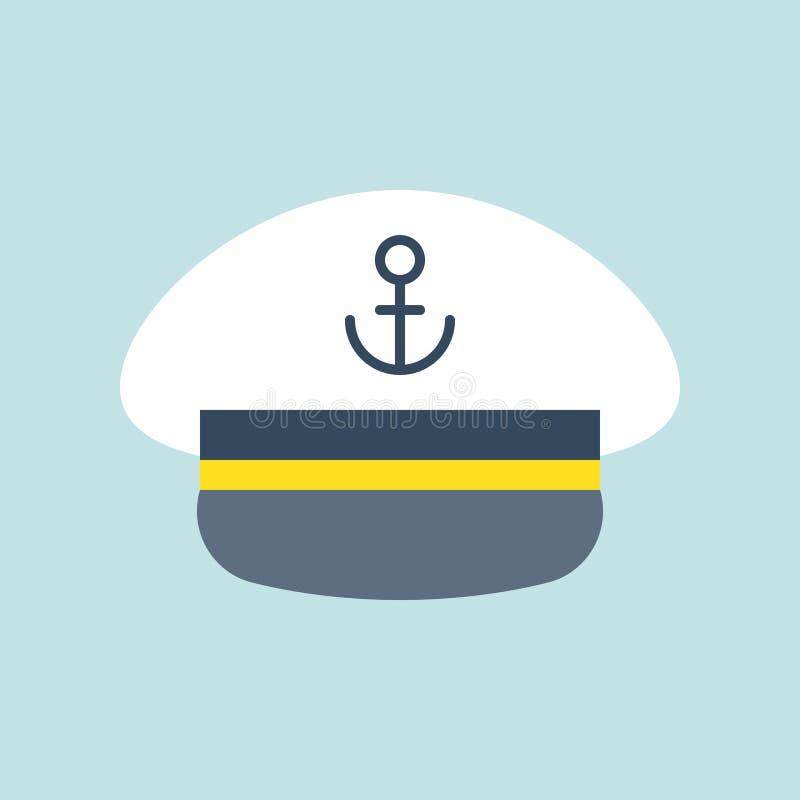 Εικονίδιο καπέλων ναυτικών καπετάνιου, επίπεδο διάνυσμα σχεδίου ελεύθερη απεικόνιση δικαιώματος