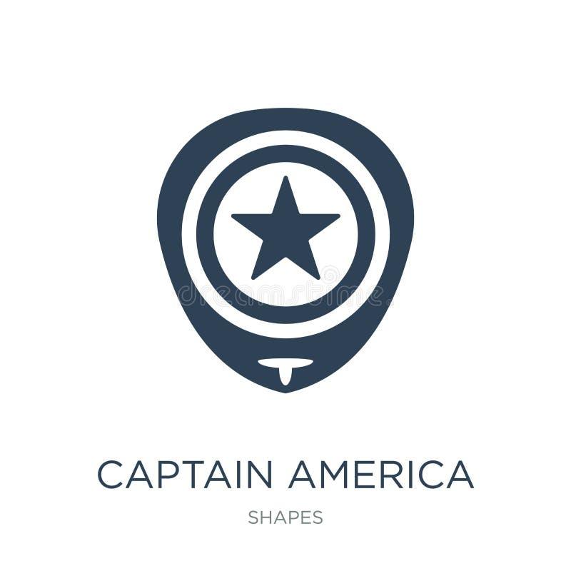εικονίδιο καπετάνιου Αμερική στο καθιερώνον τη μόδα ύφος σχεδίου εικονίδιο καπετάνιου Αμερική που απομονώνεται στο άσπρο υπόβαθρο διανυσματική απεικόνιση