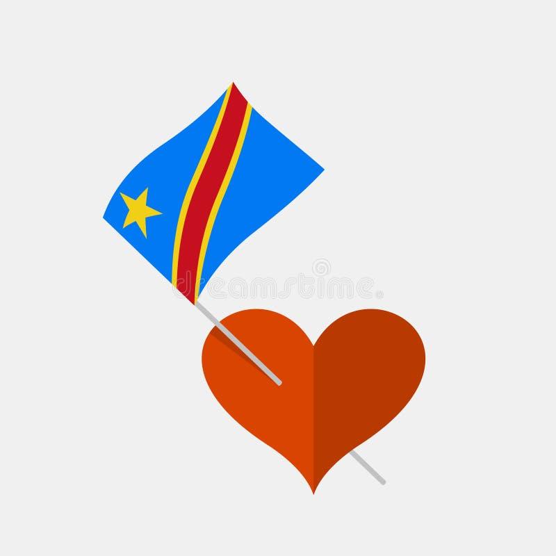 Εικονίδιο καρδιών με τη λαϊκή δημοκρατία της σημαίας του Κογκό διανυσματική απεικόνιση