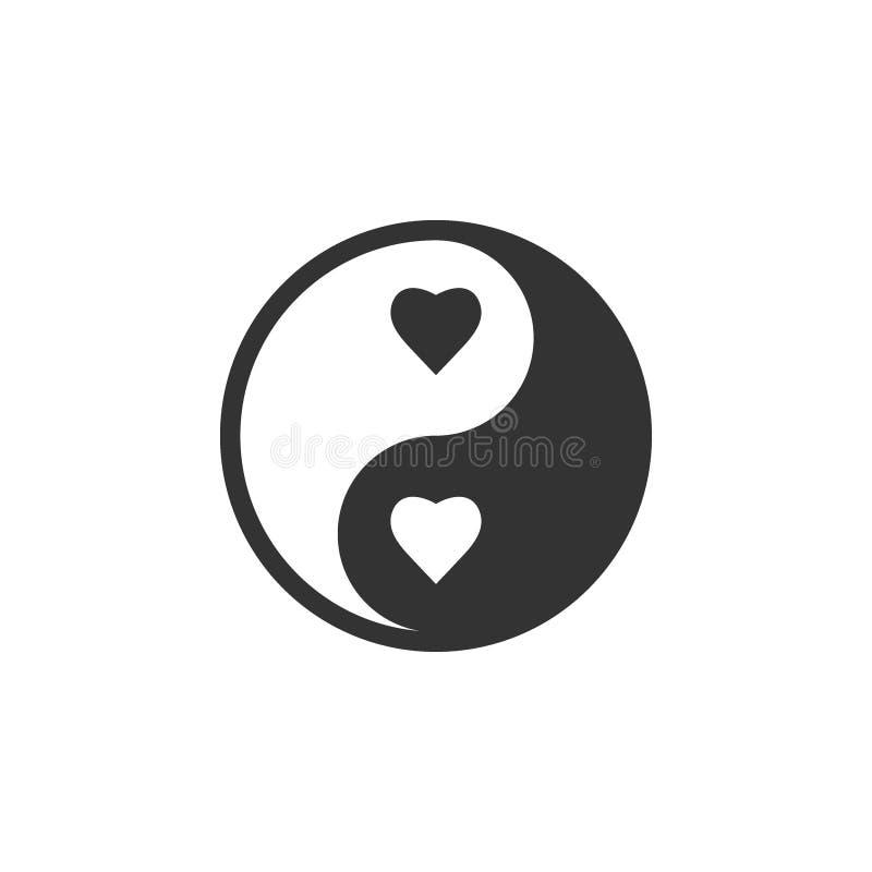 Εικονίδιο καρδιών Yang Yin Διανυσματική απεικόνιση, επίπεδο σχέδιο διανυσματική απεικόνιση