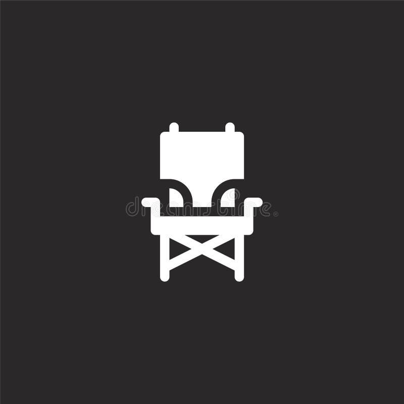 εικονίδιο καρεκλών στρατοπέδευσης Γεμισμένο εικονίδιο καρεκλών στρατοπέδευσης για το σχέδιο ιστοχώρου και κινητός, app ανάπτυξη ε διανυσματική απεικόνιση