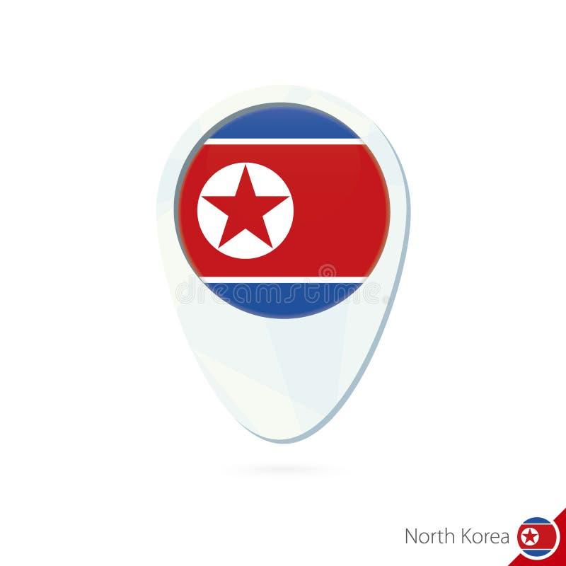 Εικονίδιο καρφιτσών χαρτών θέσης σημαιών Βόρεια Κορεών στο άσπρο υπόβαθρο ελεύθερη απεικόνιση δικαιώματος