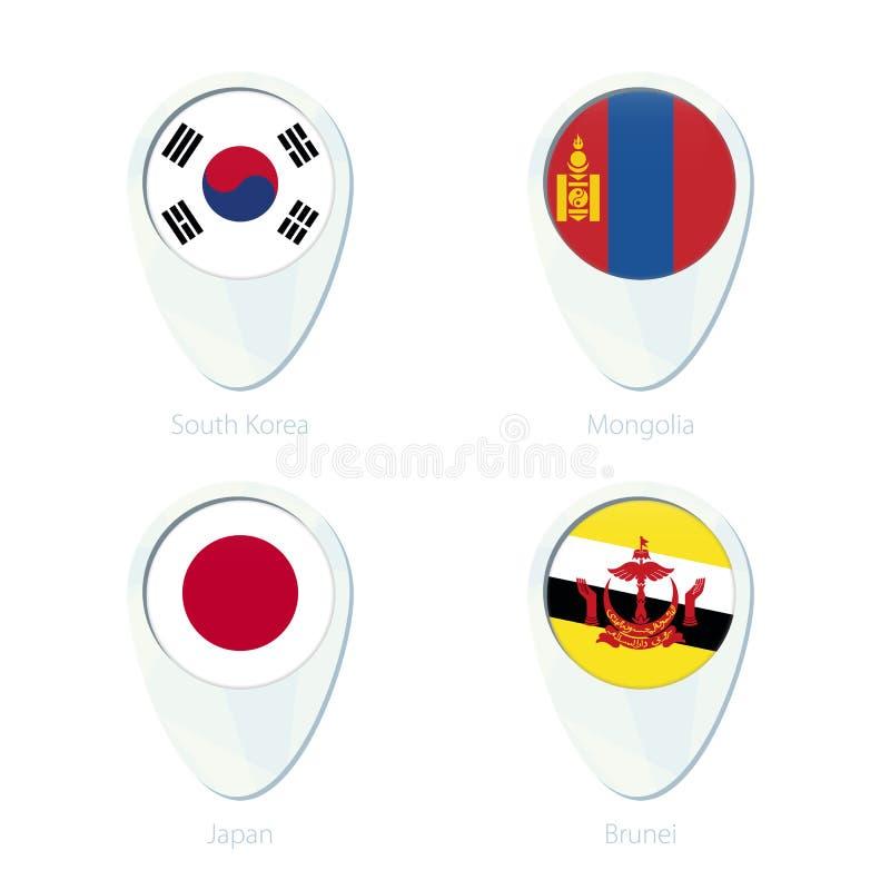 Εικονίδιο καρφιτσών χαρτών θέσης σημαιών της Νότιας Κορέας, Μογγολία, Ιαπωνία, Μπρουνέι ελεύθερη απεικόνιση δικαιώματος
