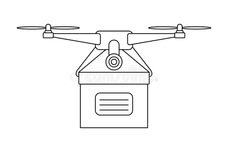 Εικονίδιο κηφήνων που παραδίδει το άσπρο διάνυσμα υποβάθρου κιβωτίων διανυσματική απεικόνιση