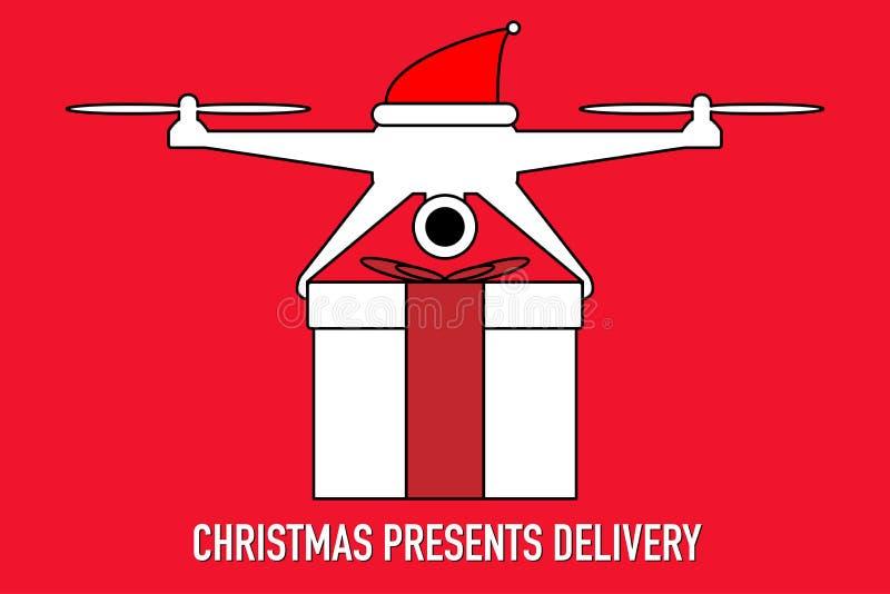 Εικονίδιο κηφήνων Santa που παραδίδει το διάνυσμα χριστουγεννιάτικου δώρου διανυσματική απεικόνιση