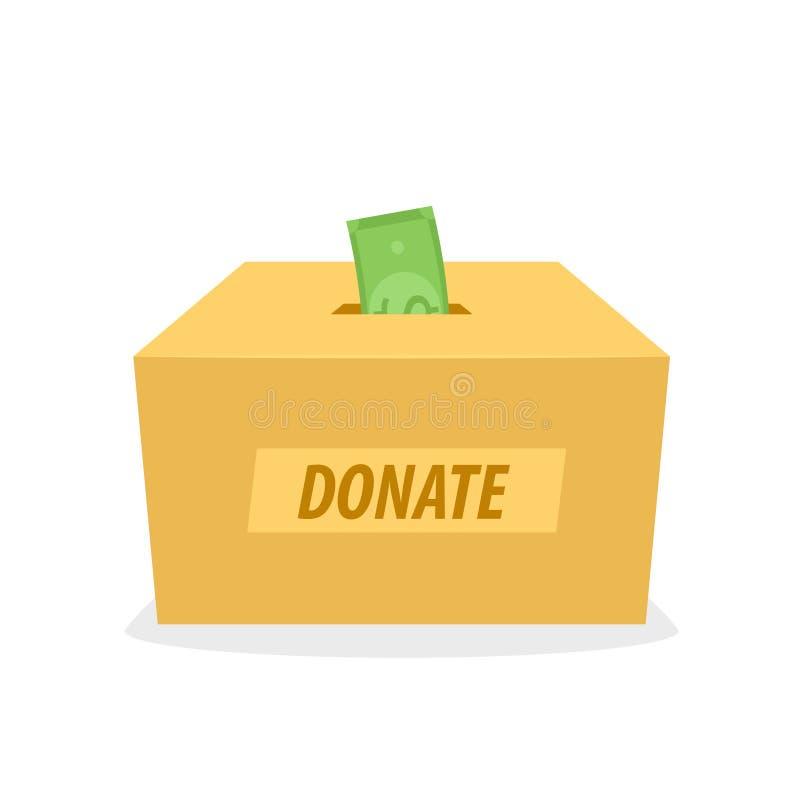 Εικονίδιο κιβωτίων δωρεάς χαρτονιού διανυσματική απεικόνιση