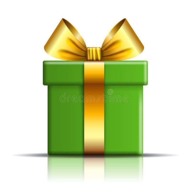 Εικονίδιο κιβωτίων δώρων Το αιφνιδιαστικό παρόν πρότυπο, χρυσό τόξο κορδελλών, απομόνωσε το άσπρο υπόβαθρο τρισδιάστατη διακόσμησ ελεύθερη απεικόνιση δικαιώματος