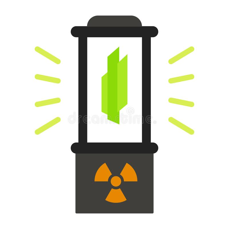 Εικονίδιο κιβωτίων πυρηνικής σύντηξης, επίπεδο ύφος απεικόνιση αποθεμάτων