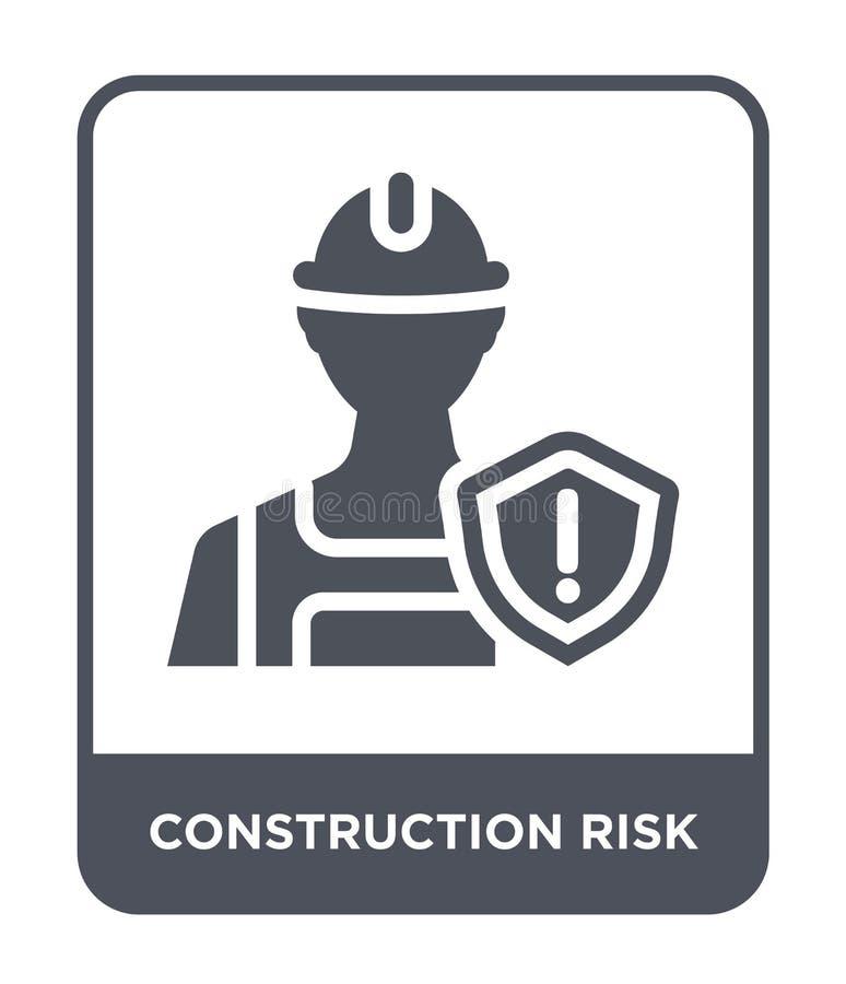 εικονίδιο κινδύνου κατασκευής στο καθιερώνον τη μόδα ύφος σχεδίου εικονίδιο κινδύνου κατασκευής που απομονώνεται στο άσπρο υπόβαθ διανυσματική απεικόνιση