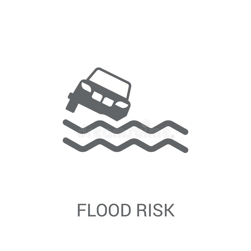 Εικονίδιο κινδύνου πλημμυρών Καθιερώνουσα τη μόδα έννοια λογότυπων κινδύνου πλημμυρών στο άσπρο backgro απεικόνιση αποθεμάτων
