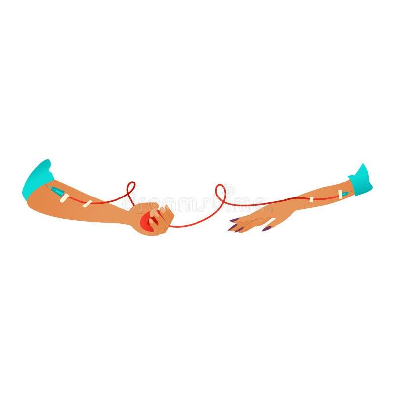 Εικονίδιο κινούμενων σχεδίων μετάγγισης αίματος - που δίνει το στοιχείο φιλανθρωπίας αίματος που απομονώνεται στο άσπρο υπόβαθρο διανυσματική απεικόνιση